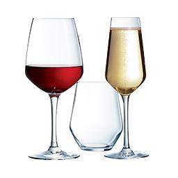 Verre à pied gobelet et flute à champagne vina juliette arcoroc haut de gamme